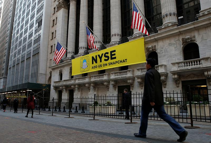 The Snapchat logo is seen on a banner outside the New York Stock Exchange (NYSE) in New York City, U.S., November 16, 2016. REUTERS/Brendan McDermid