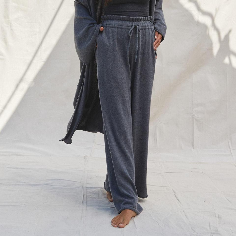 """Add easy elegance to their lounge wardrobe with Lunya's silk cotton trousers. They're intentionally oversized, so consider sizing down for your giftee if they prefer a closer fit. $168, Lunya. <a href=""""https://www.lunya.co/collections/cozy-cotton-silk/products/cozy-cotton-silk-relaxed-pant?"""" rel=""""nofollow noopener"""" target=""""_blank"""" data-ylk=""""slk:Get it now!"""" class=""""link rapid-noclick-resp"""">Get it now!</a>"""