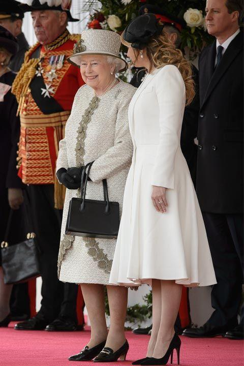 """<p>Even though you might feel like you've known the Queen your whole life, remember: she doesn't know you. When you first meet her, <a rel=""""nofollow noopener"""" href=""""http://www.eonline.com/shows/the_royals/news/610777/protocol"""" target=""""_blank"""" data-ylk=""""slk:address her as &quot;Your Majesty.&quot;"""" class=""""link rapid-noclick-resp"""">address her as """"Your Majesty.""""</a> Use """"Ma'am"""" the rest of the time, except when you say farewell, which should be """"Your Majesty"""" once again.</p>"""