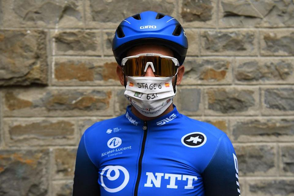 SALLENT DE GLLEGO SPAIN  OCTOBER 25 Start  Carlos Barbero Cuesta of Spain and NTT Pro Cycling Team  Decoration Mask  Covid safety measures  Team Presentation  during the 75th Tour of Spain 2020  Stage 6 a 1464km stage from Biescas to Sallent de Gllego  Aramn Formigal 1790m  lavuelta  LaVuelta20  La Vuelta  on October 25 2020 in Sallent de Gllego Spain Photo by David RamosGetty Images