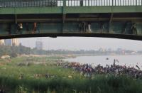 Irqai forces have set up barricades to keep protesters from crossing Baghdad's Jumhuriyah Bridge which leads to the Green Zone