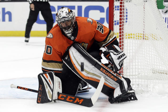 Anaheim Ducks' Ryan Miller (30) stop a shot by the Carolina Hurricanes during the first period of an NHL hockey game Friday, Oct. 18, 2019, in Anaheim, Calif. (AP Photo/Marcio Jose Sanchez)