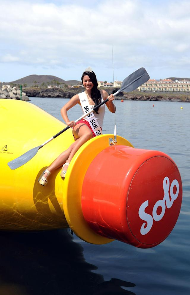 TENERIFE, SPAIN - MARCH 13: Sady Chavez Diaz (Miss Tenerife) attends as Solo Launches the World's Largest Message in a Bottle at Marina San Miguel on March 13, 2013 in Tenerife, Spain. (Photo by Stuart Wilson/Getty Images for Solo)