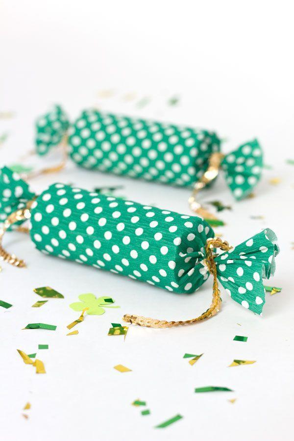 """<p>This cool craft begins with a toilet paper tube! Add some cute wrapping and you're on your way to livening up St. Patrick's Day with homemade party poppers.</p><p><strong>Get the tutorial at <a href=""""https://studiodiy.com/diy-lucky-poppers//"""" rel=""""nofollow noopener"""" target=""""_blank"""" data-ylk=""""slk:Studio DIY"""" class=""""link rapid-noclick-resp"""">Studio DIY</a>.</strong></p><p><a class=""""link rapid-noclick-resp"""" href=""""https://www.amazon.com/s?k=Sewing+thin+gold+Sequin+Trim&tag=syn-yahoo-20&ascsubtag=%5Bartid%7C2164.g.35012898%5Bsrc%7Cyahoo-us"""" rel=""""nofollow noopener"""" target=""""_blank"""" data-ylk=""""slk:SHOP GOLD SEQUIN TRIM"""">SHOP GOLD SEQUIN TRIM</a><br></p>"""
