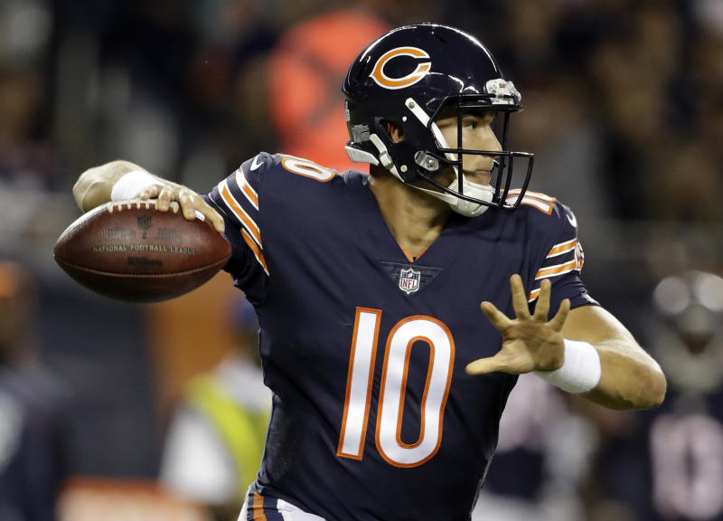 Chicago Bears quarterback Mitchell Trubisky (10) made his first start on Monday night against the Vikings. (AP)