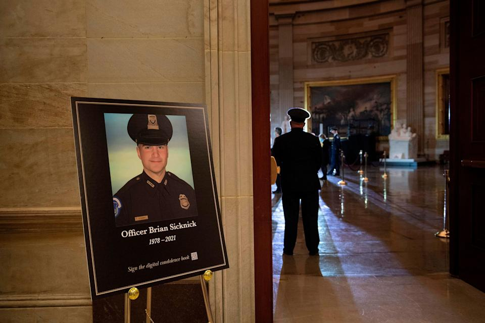 U.S. Capitol Police officer Brian Sicknick was one of five people to die during the Jan. 6 Capitol insurrection. Two other police officers died by suicide in the days after. (Photo: BRENDAN SMIALOWSKI/POOL/AFP via Getty Images)
