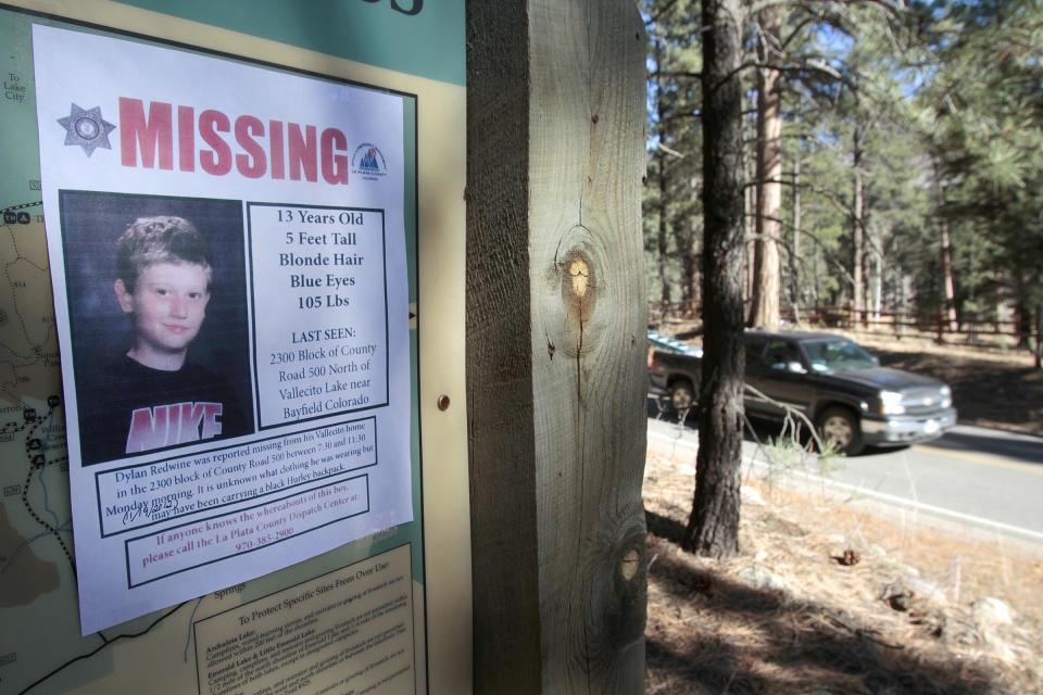 Dylan Redwine's remains were found years after he went missing in 2012. Source: The Durango Herald via AP, File