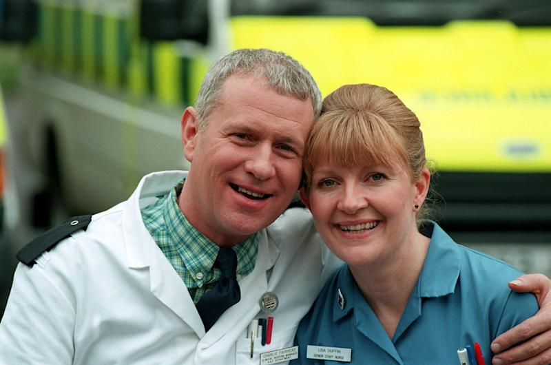 DEREK THOMPSON AND CATHY SHIPTON WHO PLAY NURSES CHARLIE FAIRHEAD AND LISA (DUFFY) DUFFIN, IN THE BBC TV HOSPITAL DRAMA, CASUALTY. (Photo by Jay Williams - PA Images/PA Images via Getty Images)