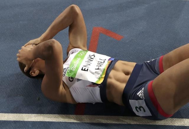 2016 Rio Olympics - Athletics - Final - Women's Heptathlon 800m - Olympic Stadium - Rio de Janeiro, Brazil - 13/08/2016. Jessica Ennis-Hill (GBR) of Britain reacts after the event. REUTERS/Phil Noble FOR EDITORIAL USE ONLY. NOT FOR SALE FOR MARKETING OR ADVERTISING CAMPAIGNS.