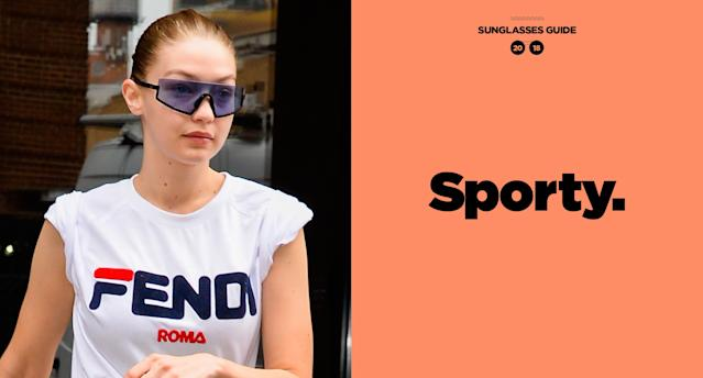 <p>Model Gigi Hadid is leading the sport-eyewear trend. She was recently spotted out in New York City wearing a pair of blue tinted sporty sunglasses by Westward Leaning, paired with a Fendi logo tee and denim jeans. (Photo: Getty Images; art: Quinn Lemmers for Yahoo Lifestyle) </p>