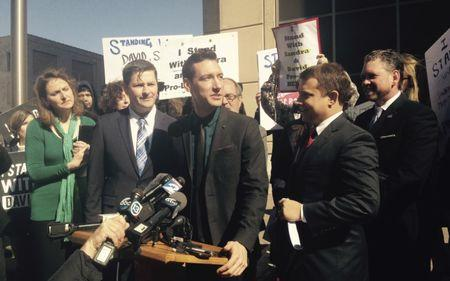 File photo of Anti-abortion activist David Daleiden speaking at a news conference outside a court in Houston Texas