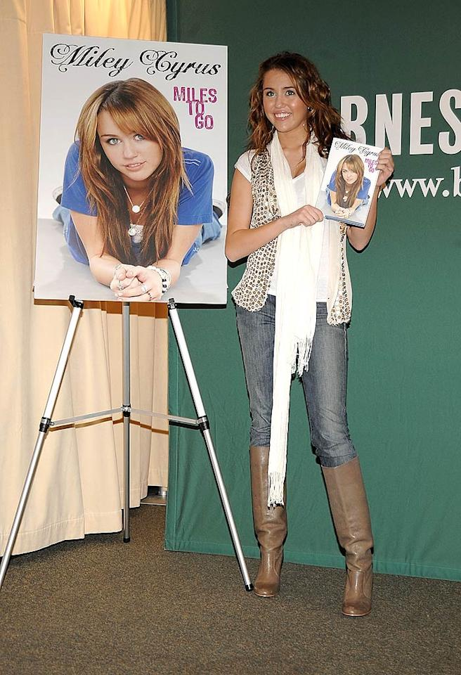 "Miley achieved the hallmark of a true star by writing her memoir at the age of 16 in 2009. At least she recognized her young age with the title, <i>Miles to Go</i>, and by targeting it to children ages 9-12. Jamie McCarthy/<a href=""http://www.wireimage.com"" target=""new"">WireImage.com</a> - March 5, 2009"