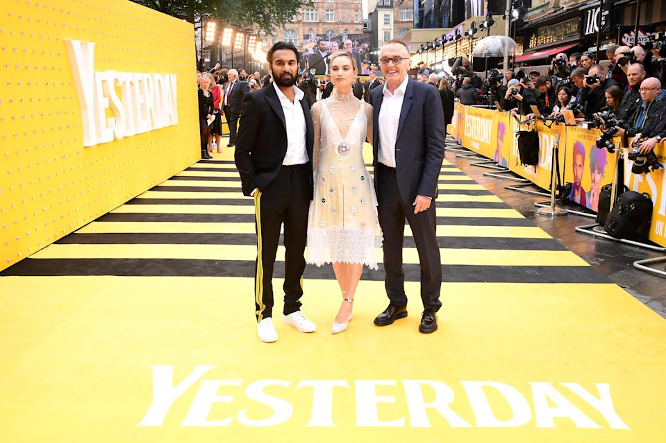 Himesh Patel (left), Lily James and Danny Boyle (right) attending the Yesterday UK Premiere held in London, UK. (Photo by Ian West/PA Images via Getty Images)