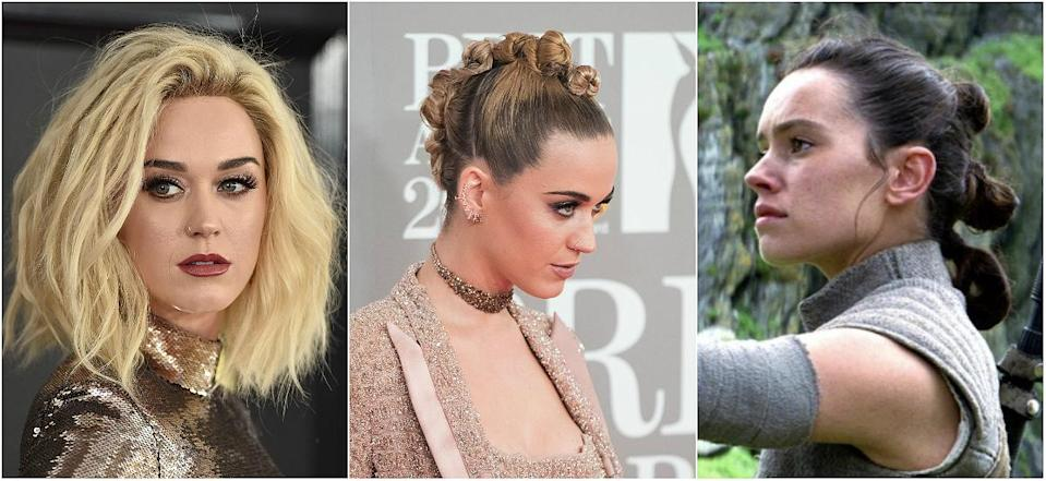 """<p><b>When: February 2017 </b><br>Katy Perry was spotted with a faux-hawk bun at the 2017 BRIT Awards — and the Internet is wondering, did she get hairspiration from Rey's triple bun style in """"Star Wars: The Force Awakens""""? Perry sectioned off her bleached-blonde locks from her forehead to the back of her crown and created mini twist buns along the way, securing with clear elastics. She smoothed down her dark roots (a reminder of her raven-hair days)—and voila! Who'd win in a hair battle between Katy and Rey? <i> (Photos: Getty /Star Wars) </i> </p>"""