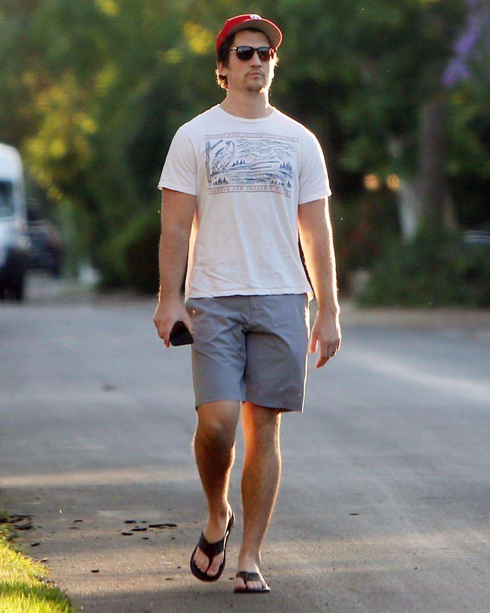 <p>Miles Teller takes a walk around his neighborhood on Tuesday in L.A. </p>