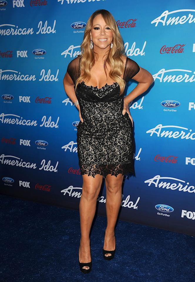 "Mariah Carey attends the FOX ""American Idol"" finalists party at The Grove on March 7, 2013 in Los Angeles, California."
