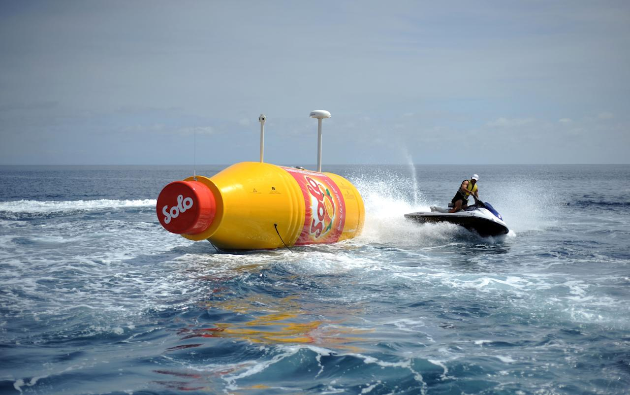 TENERIFE, SPAIN - MARCH 13: Solo Launches the Worlds Largest Message in a Bottle at Marina San Miguel on March 13, 2013 in Tenerife, Spain. (Photo by Stuart Wilson/Getty Images for Solo)