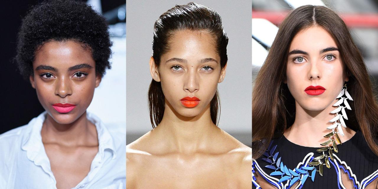Beauty alert: It's almost maybe a little bit getting close to being summertime, which means it's fair for you to start switching out your beauty routine. Here, lip inspiration straight from the spring runways—perfect for warm(er) weather days.