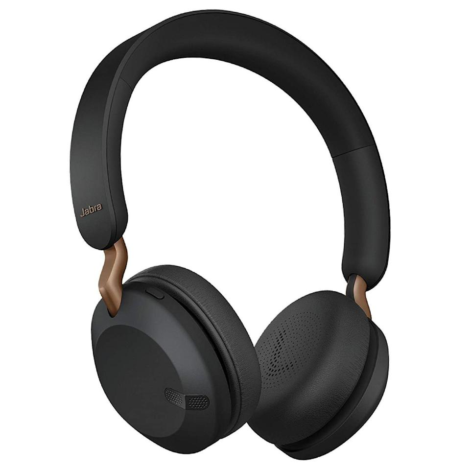 """<p><strong>Jabra</strong></p><p>amazon.com</p><p><strong>$99.99</strong></p><p><a href=""""https://www.amazon.com/dp/B086T3Z3VF?tag=syn-yahoo-20&ascsubtag=%5Bartid%7C2089.g.285%5Bsrc%7Cyahoo-us"""" rel=""""nofollow noopener"""" target=""""_blank"""" data-ylk=""""slk:Shop Now"""" class=""""link rapid-noclick-resp"""">Shop Now</a></p><p>The Jabra Elite 45h are the best compact wireless headphones $100 can buy. They have an elegant design with exposed metal bits, a comfy fit with easy-to-access controls, and quality sound that's customizable via a smartphone app. Jabra offers the headset in black, blue, gold, and copper black.</p><p>Equipped with high-quality microphones, the Elite 45h cans perform reliably during calls. Their 50-hour battery life is nothing short of excellent, too. Jabra has equipped the headphone with a fast USB-C connector, which can get you up to 10 hours' worth of playback after only 15 minutes.</p><p><strong>More: </strong><a href=""""https://www.bestproducts.com/tech/gadgets/a33326992/jabra-elite-45h-review/"""" rel=""""nofollow noopener"""" target=""""_blank"""" data-ylk=""""slk:Our Review of the Jabra Elite 45h"""" class=""""link rapid-noclick-resp"""">Our Review of the Jabra Elite 45h</a></p>"""