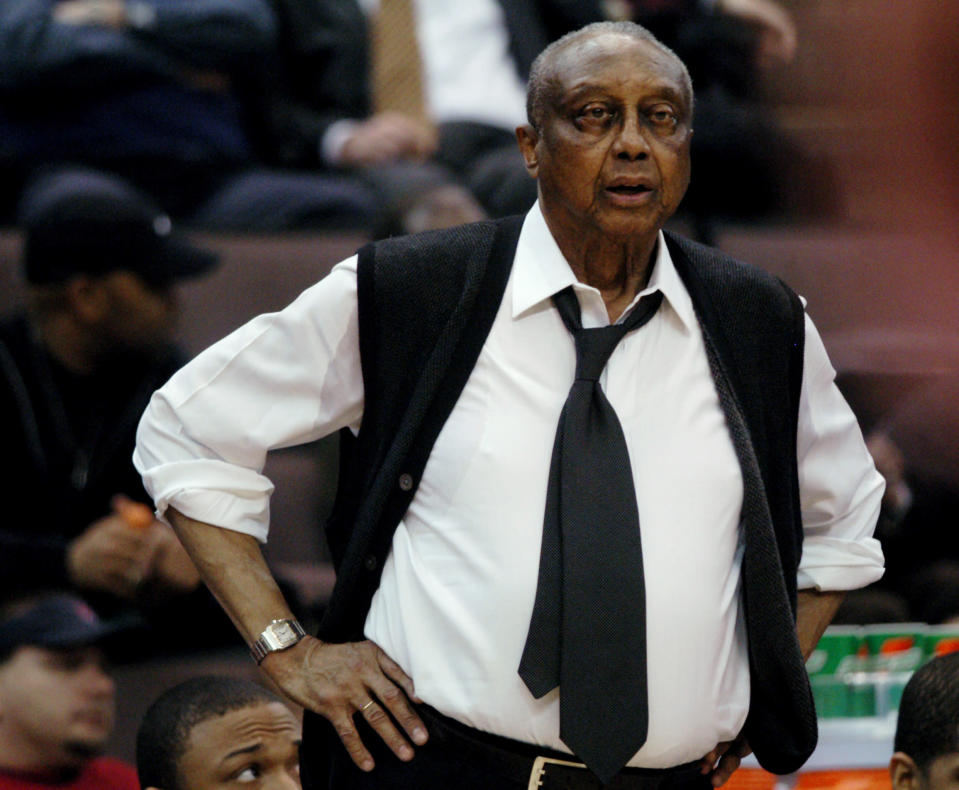 FILE - Temple coach John Chaney watches his players during the second half of their Atlantic 10 tournament basketball game against Rhode Island in Cincinnati, in this Wednesday, March 8, 2006, file photo. Temple won 74-45. John Chaney, one of the nations leading Black coaches and a commanding figure during a Hall of Fame basketball career at Temple, has died. He was 89. His death was announced by the university Friday, Jan. 29, 2021. (AP Photo/Tony Tribble, File)