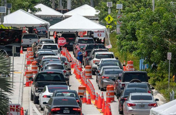 PHOTO:People queue in their cars to get COVID-19 tests administered by the Florida Army National Guard, the City of Miami Beach and the Florida Department of Health, at Miami Beach Convention Center in Miami Beach, July 1, 2020. (Cristobal Herrera/EPA via Shutterstock)