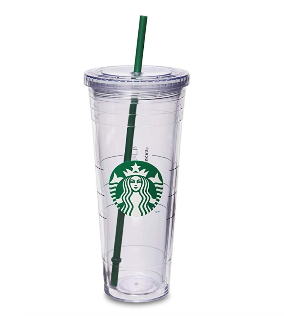 """<p><strong>Starbucks</strong></p><p>amazon.com</p><p><strong>$27.50</strong></p><p><a href=""""https://www.amazon.com/dp/B0084IHVOS?tag=syn-yahoo-20&ascsubtag=%5Bartid%7C10065.g.29036093%5Bsrc%7Cyahoo-us"""" rel=""""nofollow noopener"""" target=""""_blank"""" data-ylk=""""slk:Shop Now"""" class=""""link rapid-noclick-resp"""">Shop Now</a></p><p>SAVE 👏THE 👏TURTLES 👏. But really, this reusable Starbucks tumbler will reduce your waste output and hold 24 full ounces of your preferred iced coffee flavor. </p>"""