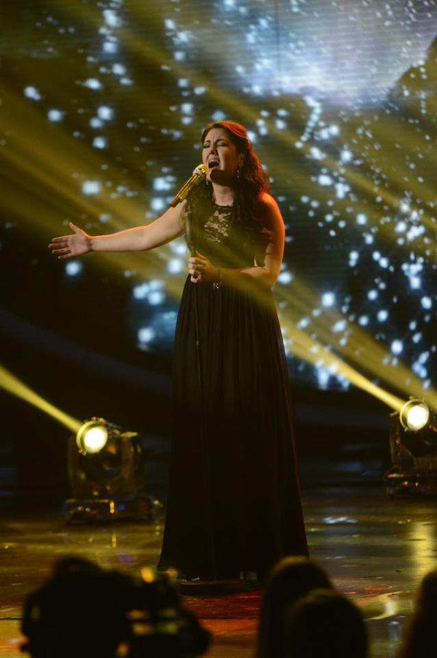 "Kree Harrison performs ""Here Comes Goodbye"" on the Wednesday, May 8 episode of ""American Idol."""