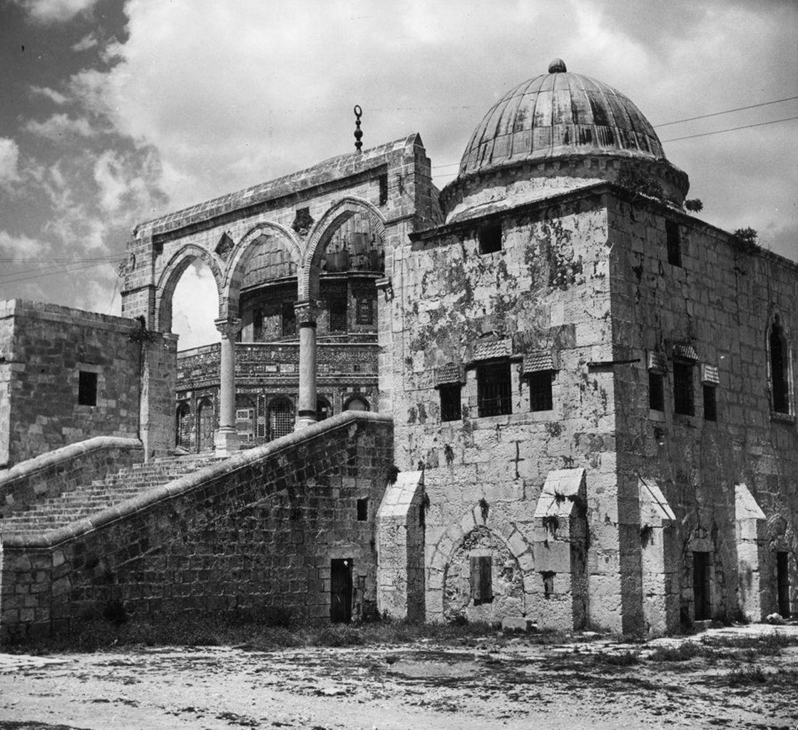 The side entrance to the Dome of the Rock in Jerusalem, as it stood around 1950. <cite>Three Lions/Getty Images</cite>