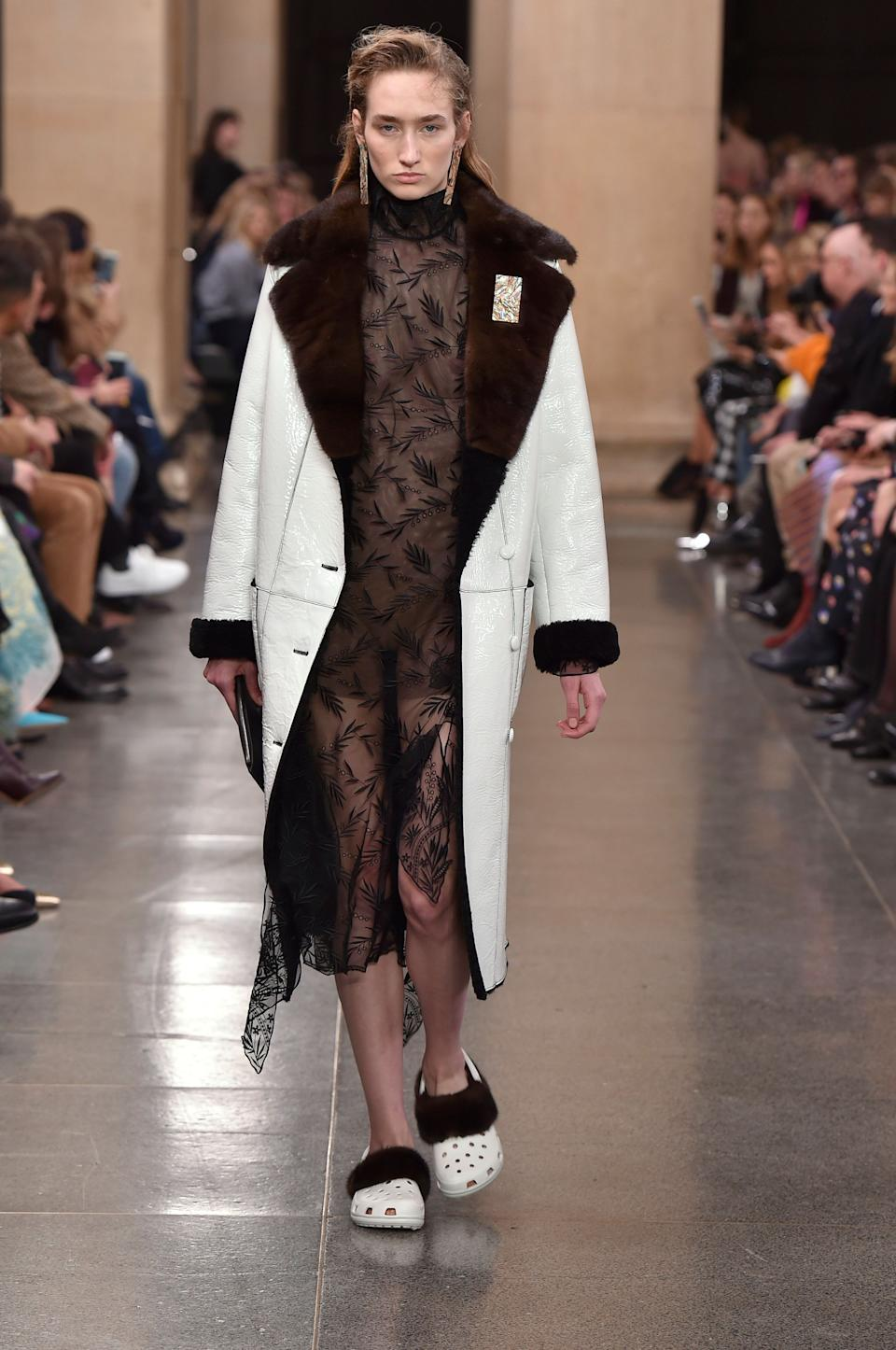 White, fur-covered crocs on at Christopher Kane on Feb. 20, 2017. (Photo: Catwalking via Getty Images)