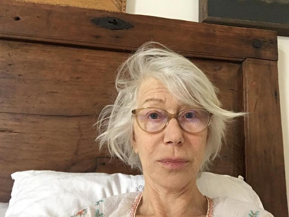 """Helen Mirren shared a selfie of her makeup-free face for a good reason during the coronavirus pandemic. """"In return for this pic of me literally first thing in the morning, please donate to the <a href=""""https://platform.nationalfundingscheme.org/COVID.ICS?charity=COVID.ICS#.XoNf4y9lCfA"""" rel=""""nofollow noopener"""" target=""""_blank"""" data-ylk=""""slk:intensive care support"""" class=""""link rapid-noclick-resp"""">intensive care support</a>,"""" she wrote on Instagram. """"Thanks so much."""" The link goes to a donation site for England's Intensive Care Society, which is helping to provide necessary ventilators for COVID-19 patients."""