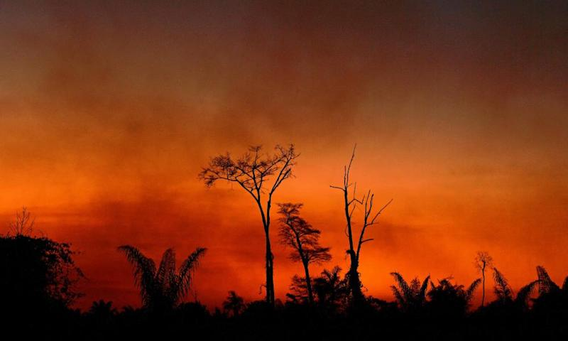 Smoke rises from a burnt area of land in Brazil's Mato Grosso state last week.