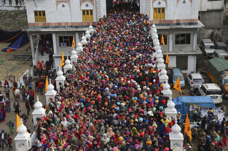 In this Saturday, Jan. 5, 2019, file photo, Indian Sikh devotees gather to pay obeisance at a Sikh temple as they mark the birth anniversary of Guru Gobind Singh, in Jammu, India. Guru Gobind Singh was the tenth Sikh guru. (AP Photo/Channi Anand, File)