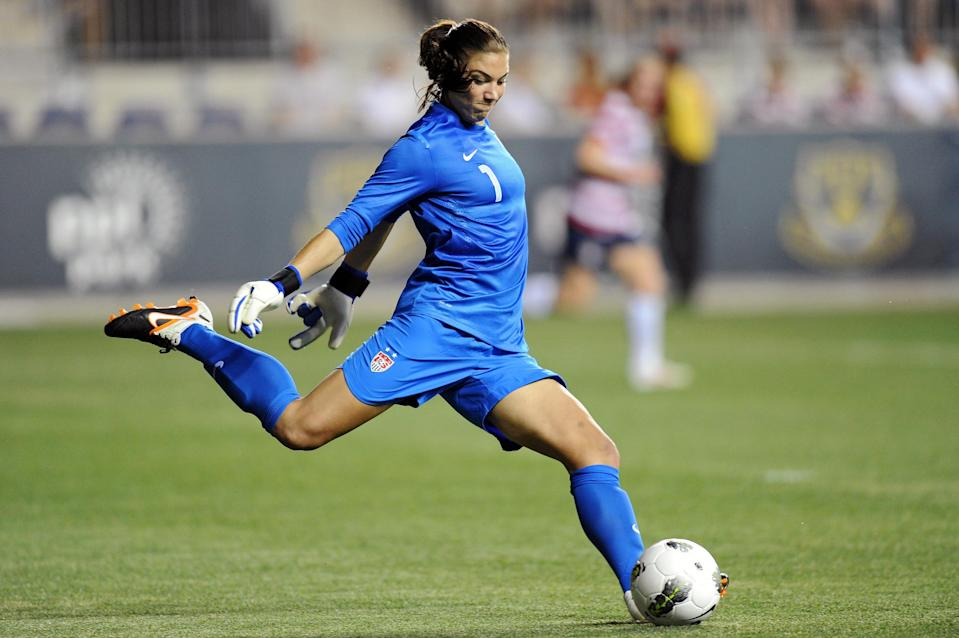 Hope Solo #1 of the USA kicks the ball during the game against China at PPL Park on May 27, 2012 in Chester, Pennsylvania. USA won 4-1. (Photo by Drew Hallowell/Getty Images)