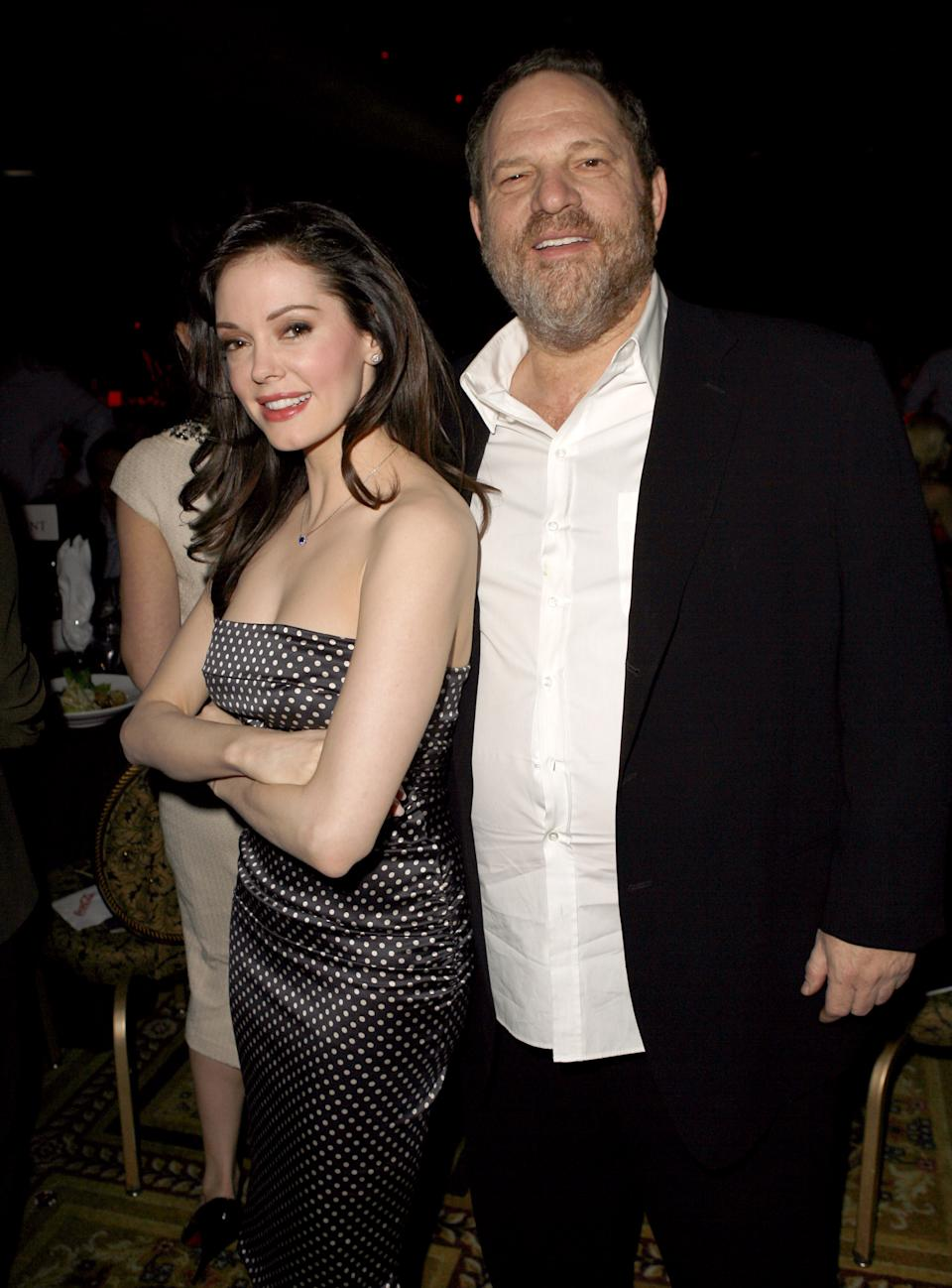 Rose McGowan and Harvey Weinstein during 2007 ShoWest Award Ceremony - Coca-Cola Green Room and Backstage at Paris Hotel in Las Vegas, Nevada, United States. (Photo by Jeff Vespa/WireImage for Rogers & Cowan)