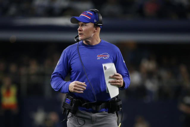 Buffalo Bills head coach Sean McDermott watches play against the Dallas Cowboys in the first half of an NFL football game in Arlington, Texas, Thursday, Nov. 28, 2019. (AP Photo/Michael Ainsworth)