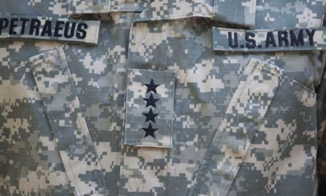 "Gen. David Petraeus' old uniform, which was the upgraded ""MultiCam"" pattern."