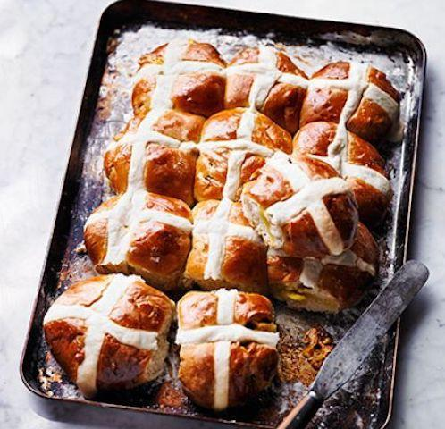 """<p>What better way to welcome in Easter than with a fresh batch of hot cross buns? These lemon and marzipan numbers hold a zesty twist and will prove a hit with the family. Take a look at the <a href=""""https://www.bbcgoodfood.com/recipes/lemon-marzipan-hot-cross-buns"""" rel=""""nofollow noopener"""" target=""""_blank"""" data-ylk=""""slk:recipe"""" class=""""link rapid-noclick-resp"""">recipe</a>. [Photo: BBC Good Food]<br><br><strong>Ingredients:</strong><br>250ml full-fat milk<br>Zest 2 lemons<br>50g butter<br>500g strong white flour, plus 140g/5oz for the crosses and extra for dusting<br>Tsp ground cinnamon<br>85g golden caster sugar<br>7g sachet fast-action dried yeast<br>1 large egg, beaten, plus 1 egg to glaze<br>Vegetable oil or sunflower oil, for greasing<br>200g marzipan<br>100g mixed dried fruit<br>50g candied lemon peel (or use mixed peel)<br>1 tbsp lemon curd, to glaze, plus extra to serve<br>Salted butter to serve </p>"""