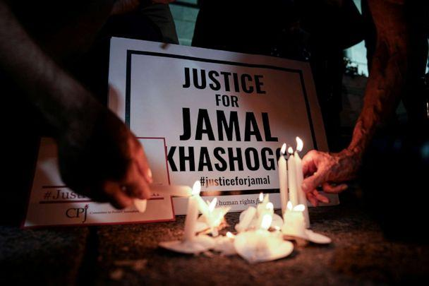 PHOTO: The Committee to Protect Journalists and other activists hold a vigil in front of the Saudi Embassy in Washington, D.C., to mark the anniversary of the killing of journalist Jamal Khashoggi at the kingdom's consulate in Istanbul, Oct. 2, 2019. (Sarah Silbiger/Reuters, File)