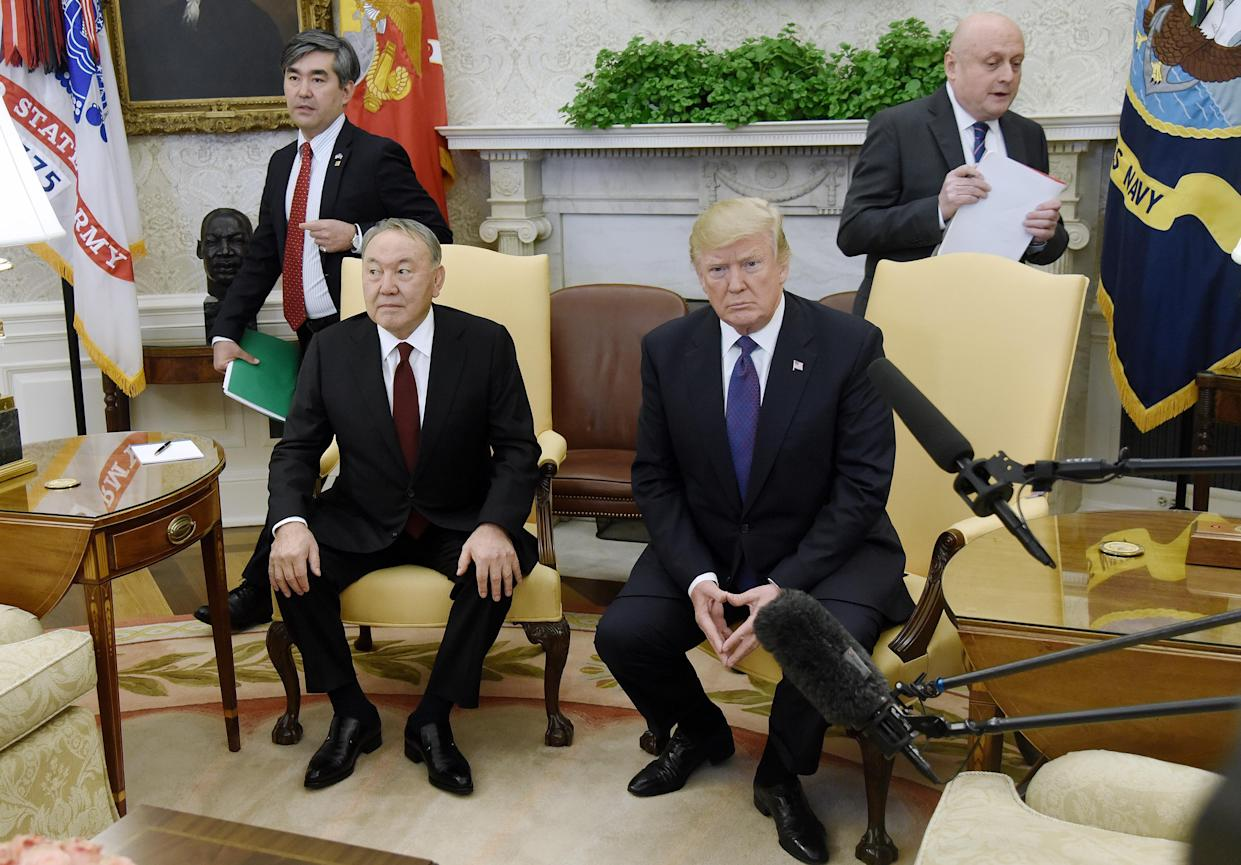 Trump with President Nursultan Nazarbayev of Kazakhstan. (Photo: Olivier Douliery/Pool via Bloomberg/Getty Images)