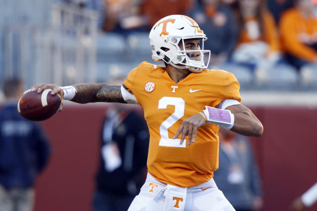 FILE - In this Nov. 17, 2018, file photo, Tennessee quarterback Jarrett Guarantano warms up before an NCAA college football game against Missouri in Knoxville, Tenn. Guarantano is working with his fourth offensive coordinator and fourth quarterback coach in as many seasons, but he believes he's got a winning combination this time. (AP Photo/Wade Payne, File)