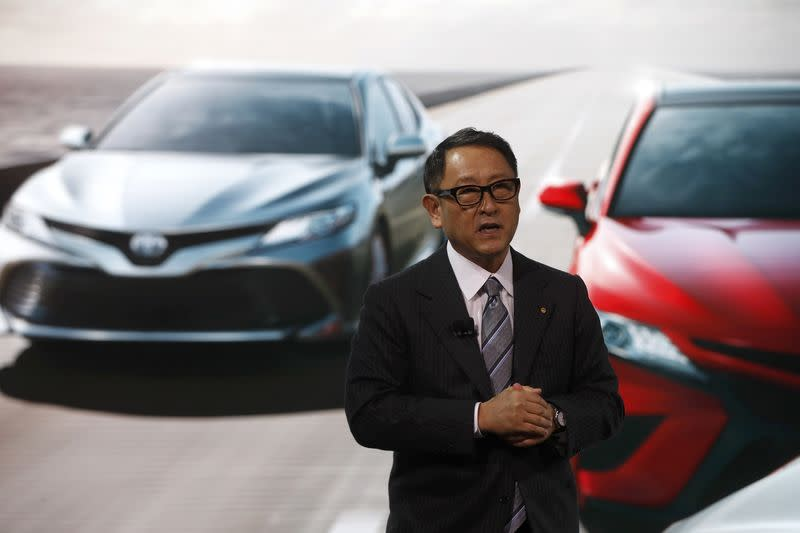 Toyota's Toyoda speaks during the North American International Auto Show in Detroit
