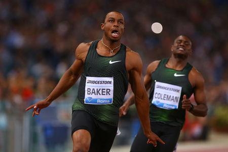 Athletics - IAAF Diamond League - Golden Gala - Stadio Olimpico, Rome, Italy - May 31, 2018 Ronnie Baker of the U.S wins the Men's 100m REUTERS/Tony Gentile