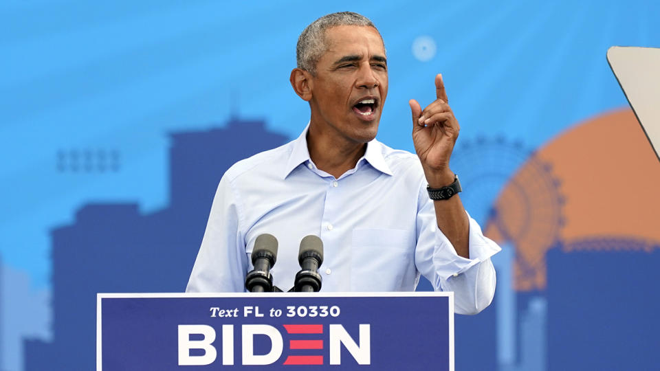 Former President Barack Obama speaks at a rally as he campaigns for Democratic presidential candidate former Vice President Joe Biden Tuesday, Oct. 27, 2020, in Orlando, Fla. (John Raoux/AP)