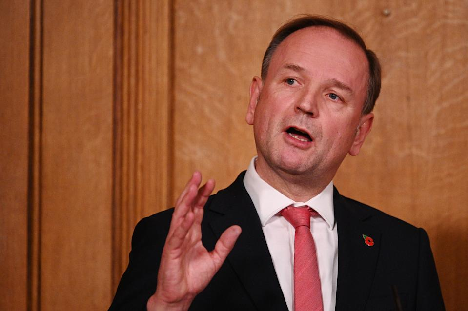 NHS Chief Executive, Sir Simon Stevens during a media briefing in Downing Street. (PA)