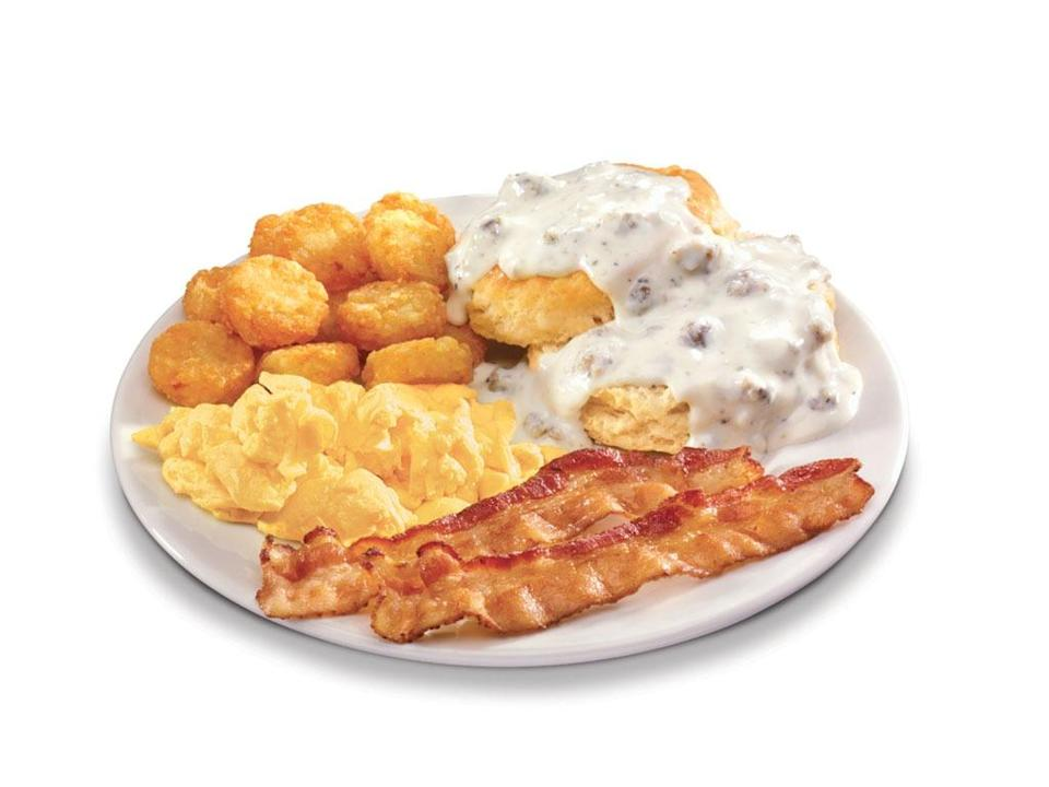 hardees breakfast platter with bacon
