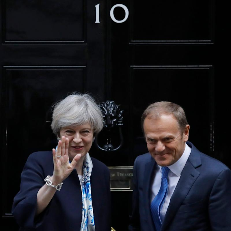 May and Tusk outside no10 - Credit: AP