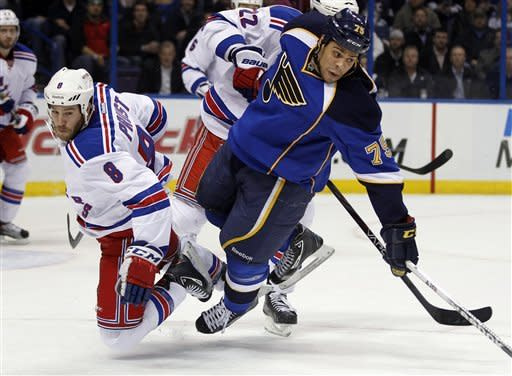 New York Rangers' Brandon Prust, left, and St. Louis Blues' Ryan Reaves collide during the second period of an NHL hockey game Thursday, Dec. 15, 2011, in St. Louis. (AP Photo/Jeff Roberson)
