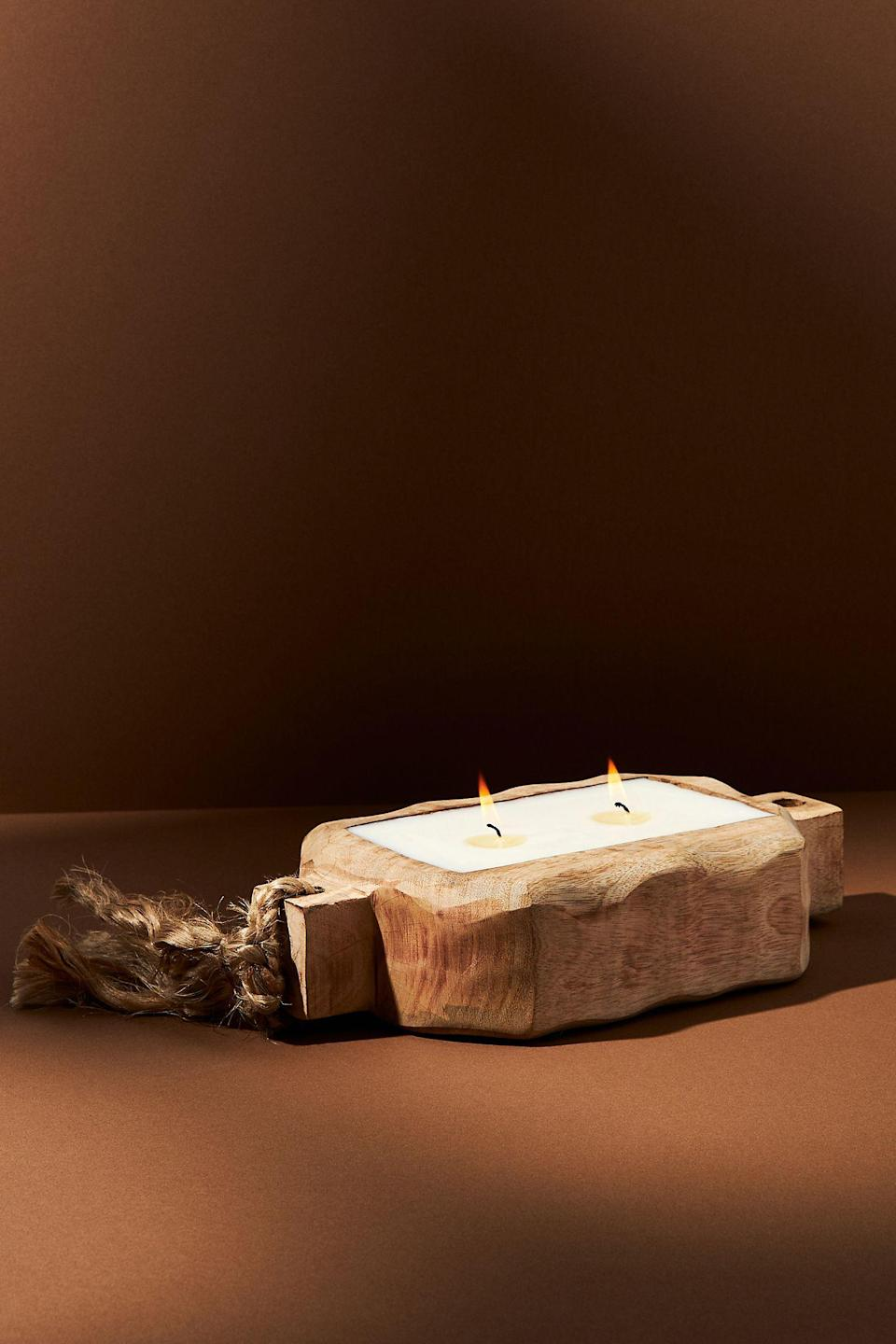 """<h3>Himalayan Handmade Candles Driftwood Tray Candle</h3><br>Choose between a sweet & earthy grapefruit pine aroma or a ginger sandalwood scent for a refreshing take on the classic fall candle. According to one reviewer, it's, """"rustic and unique and a beautiful piece,"""" while another happy customer says it's, """"perfect for her coffee table,"""" and worth every penny.<br><br><em>Shop <strong><a href=""""https://www.anthropologie.com/shop/driftwood-tray-candle"""" rel=""""nofollow noopener"""" target=""""_blank"""" data-ylk=""""slk:Anthropologie"""" class=""""link rapid-noclick-resp"""">Anthropologie</a></strong></em><br><br><strong>Himalayan Handmade Candles</strong> Driftwood Tray Candle, $, available at <a href=""""https://go.skimresources.com/?id=30283X879131&url=https%3A%2F%2Fwww.anthropologie.com%2Fshop%2Fdriftwood-tray-candle"""" rel=""""nofollow noopener"""" target=""""_blank"""" data-ylk=""""slk:Anthropologie"""" class=""""link rapid-noclick-resp"""">Anthropologie</a>"""
