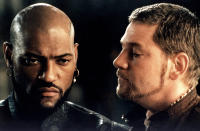 """Kenneth Branagh and Laurence Fishburne on the set of """"Othello"""", directed by Oliver Parker, 1994 (Photo by Rolf Konow/Sygma/Sygma via Getty Images)"""