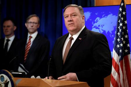 U.S. Secretary of State Mike Pompeo speaks during a briefing on Iran at the State Department in Washington, U.S., April 8, 2019. REUTERS/Yuri Gripas